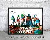 Star Wars 2 Watercolour Painting Print,Star Wars poster, Celebrity Portraits, art print, Star Wars art, Star Wars print, Star Wars, Wall Art