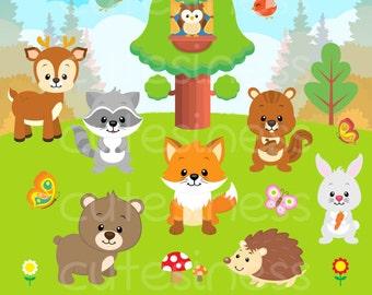 Woodland Animal Clipart, Woodland Animal Digital Clipart, Forest Animal Clipart, Woodland Clip art