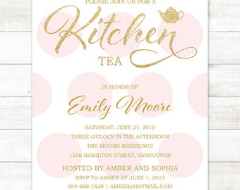 gold pink kitchen tea invitation, pink polka dots gold glitter printable bridal kitchen tea invite, bridal high tea invitation