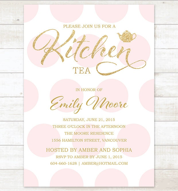 kitchen tea invites ideas gold pink kitchen tea invitation pink polka dots gold glitter 20089