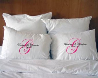 Personalized Couple's Pillowcase with Wedding date.  Monogram.