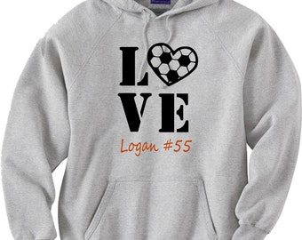 Soccer mom hoodie sweatshirt.  Personalized with favorite player's name and number.  Soccer love.