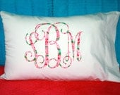 Lilly Pulitzer Inspired Monogrammed Pillow Case ~ Girl's Personalized Bed Pillow