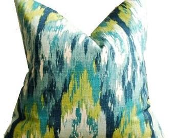 Geometric Pillow Cover Ikat Craze Birch Frost Pillow Cover Yellow Blue Green  Pillow Covers ONE