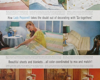 1961 Lady Pepperell Patterned Sheets Ad - Vintage Bedroom Decor Advertising