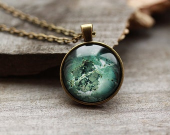 Dark gem jewelry Green stone pendant Mineral necklace OW15
