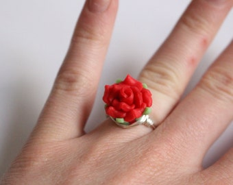 Red Rose Ring - Hand Sculpted Polymer Clay