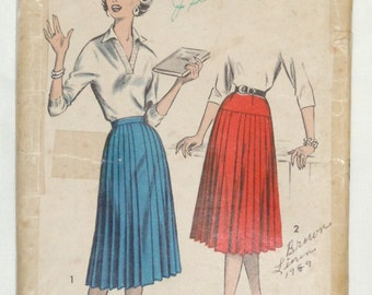 1950's Advance ladies pleated skirt pattern