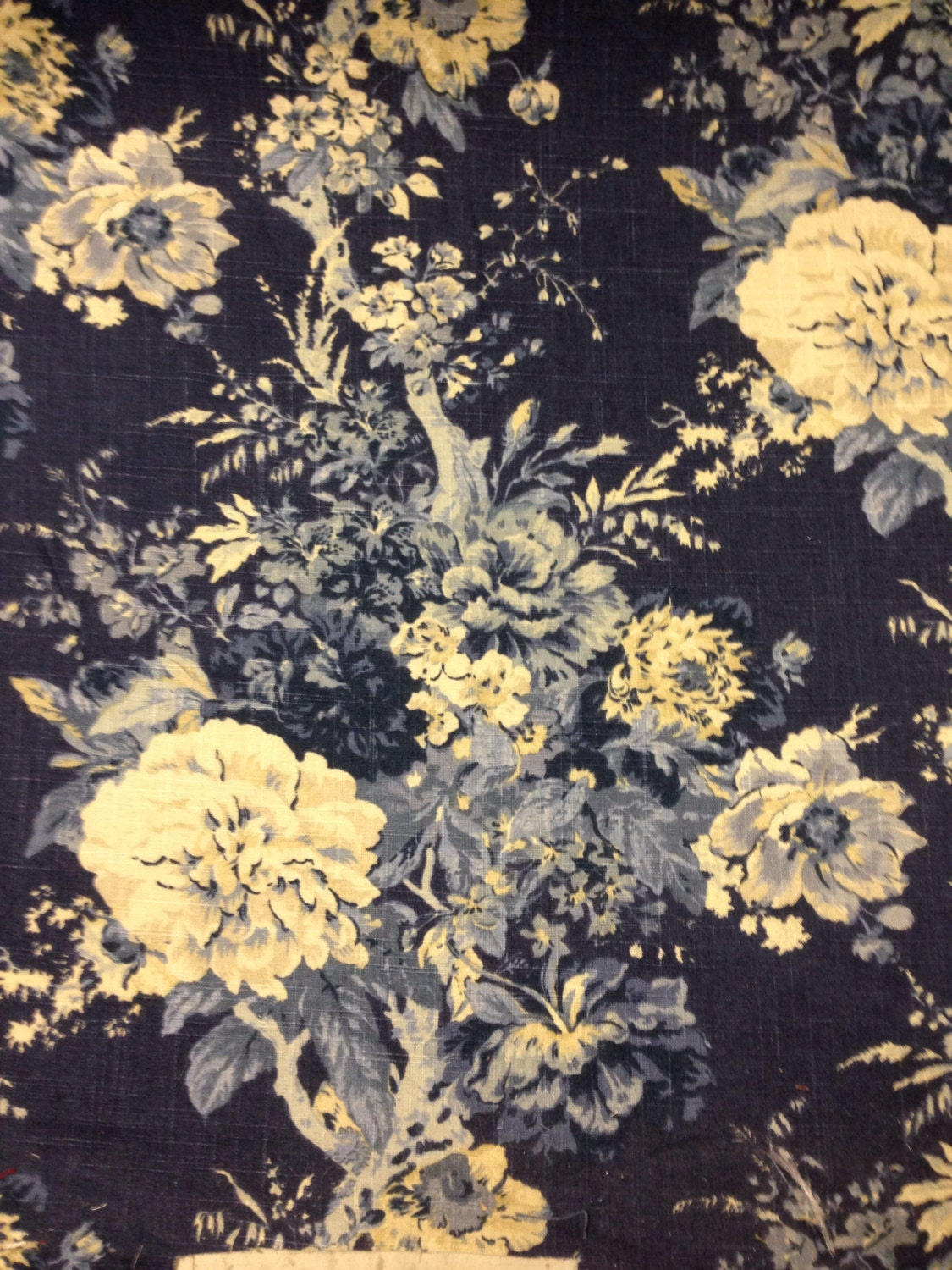 Navy And Cream French Country Floral Fabric French Country