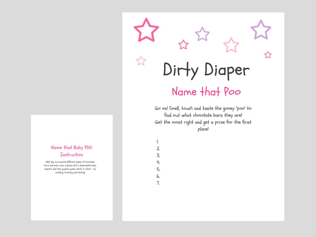dirty diaper baby shower game name that poo fun by thelastcandy