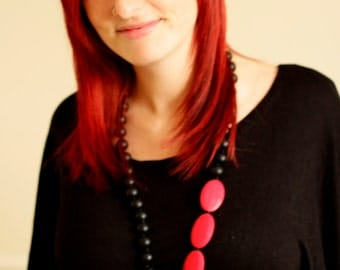 Silicone teething necklace - New wave black and red