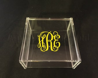 Monogrammed Acrylic Box, Hinged Jewelry Box, Trinket Box, Bridal Gift, Bridesmaid Gift, Acrylic Box, Personalized Gift, Monogrammed Box