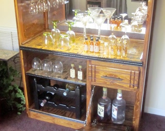 Wooden liquor bar rustic country style custom made, wine bar, wood wine bar, wine storage