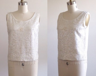 Beaded blouse- White blouse- Sequin top- Wedding Separates- Wedding blouse- Wool blouse- Beaded shirt- 60s blouse- 1960s shirt- Small