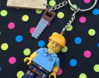 Carpenter Figure Keyring / Keychain...Handmade using LEGO® parts