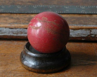 Very Old Pool Billiard Ball Maroon Burgundy Red Solids Plain Without Number Solid Globe Sphere