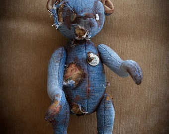"Creepy Teddy bear in vintage retro style 11"" inch OOAK"