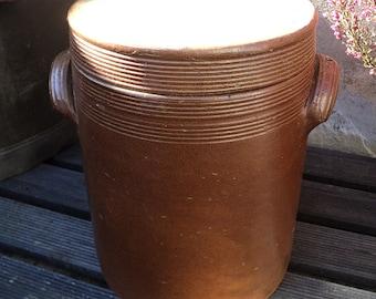 pot en gr s maill avec couvercle grand pot marron gr s pot normand poterie saindoux d co. Black Bedroom Furniture Sets. Home Design Ideas