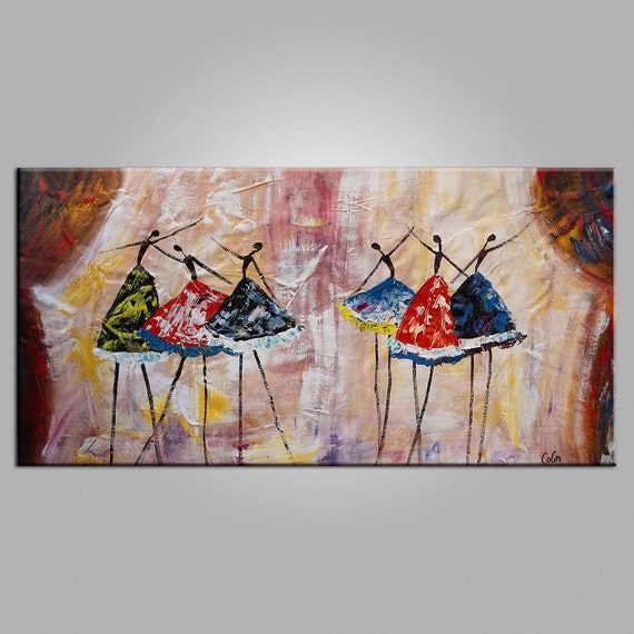 Original Art Extra Large Oil Painting Ballet Dancer By