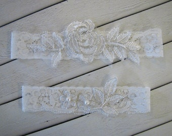 SHIMZA Style- Lace Garter, Lace bridal garter Wedding Garter Set, Bridal Garter set, Stretch Garter, White garter, Pick Your Colors