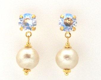 Titanium Earrings, Ivory Cotton Pearl Titanium Earrings, Moonlight Swarovski Crystal Earrings, Hypoallergenic Earrings,Bridal Pearl Earrings