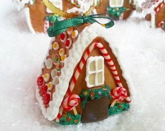 Miniature gingerbread house Christmas ornament / Christmas tree ornament /  OOAK Christmas ornament gingerbread house  / Miniature Christmas