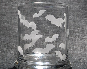 Laser Etched Halloween Bats Candle Holder