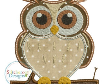 Brown Owl Applique Design -In Hoop size 4x4, 5 x 7, 9x9 - Instant Download - for Embroidery Machines