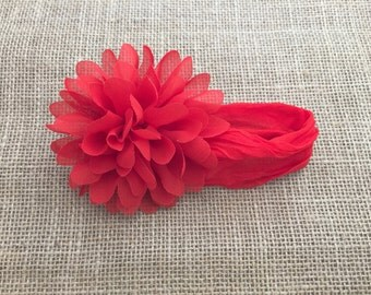 Red flower headband, Red nylon headband, Big flower headband, Headband with big flower, Newborn headband, Headband for Girls