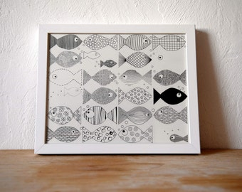 25 fish - drawing in ink of China 24 x 30 cm