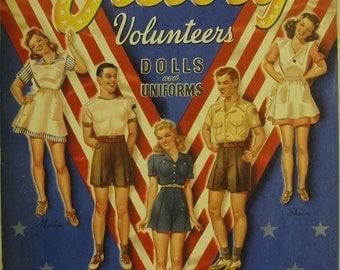 Victory Volunteers Paper Dolls & Uniforms, Complete, 1942, Merrill #3424