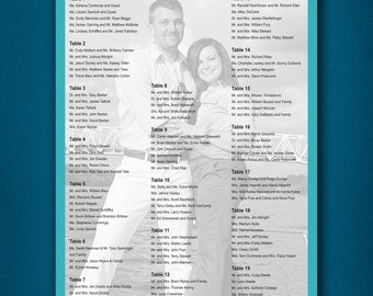 PRINTABLE Wedding Seating Board • Wedding Seating Chart Poster • Alphabetical Seating Chart • Wedding Reception Seating Chart • Light Blue