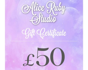 Gift Certificate for 50 Pounds to spend at AliceRubyStudio