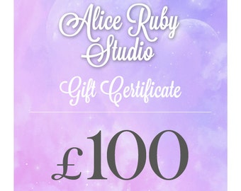 Gift Certificate for 100 Pounds to spend at AliceRubyStudio