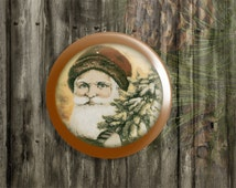 "ON SALE Handmade St Nick Knobs Drawer Pulls, Vintage Santa Clause Cabinet Pull Handles, Old Fashion Christmas 1.5"" Dresser Knobs, Made to Or"