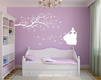Cinderella Decal Princess Decal Fairy Tale Decor Glass Slipper Decal Prince Charming Girls Room Decor Storybook Decal