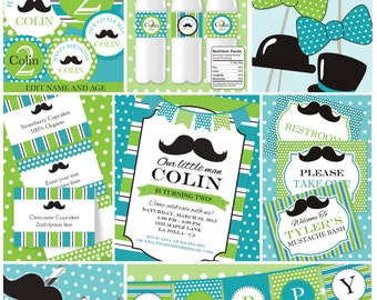Little Man Mustache Bash | Editable | INSTANT DOWNLOAD | Little Man Birthday | Printable | Invitation | Editable Party Package