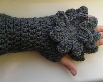 Handmade crochet flower motifs mittens hand crocheted fingerless gloves.