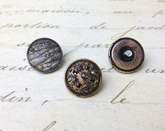 3 Small Antique Metal Buttons 14 mm