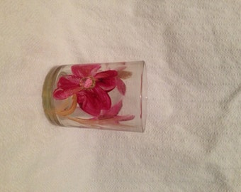 Flower hand painted Votive Candle Holder Purple - Pink/Purple