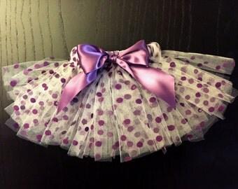 Velvet Purple Polka Dot Dog Tutu with  Satin Bow and Elastic Fit (Bow Optional)