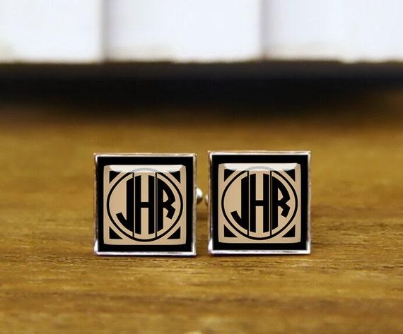 initials cufflinks, 1920s film style, custom monogrammed cufflinks, Personalized Cufflink, custom initial square cufflink & tie clip set