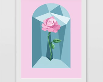 Disney Princess Belle, Beauty and the Beast inspired Enchanted Rose print