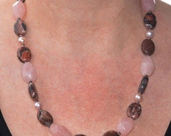 Pink Necklace-Brown necklace-Jewellery-Semi Precious-Gemstone-Necklace and Earrings-Handmade-Beauje-Designer-Jewelry-Rose quartz