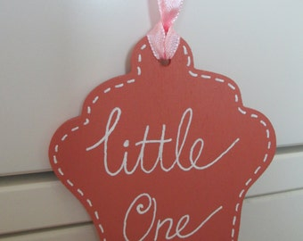 Peach Wooden Hanging Cupcake Tag ~ Little One