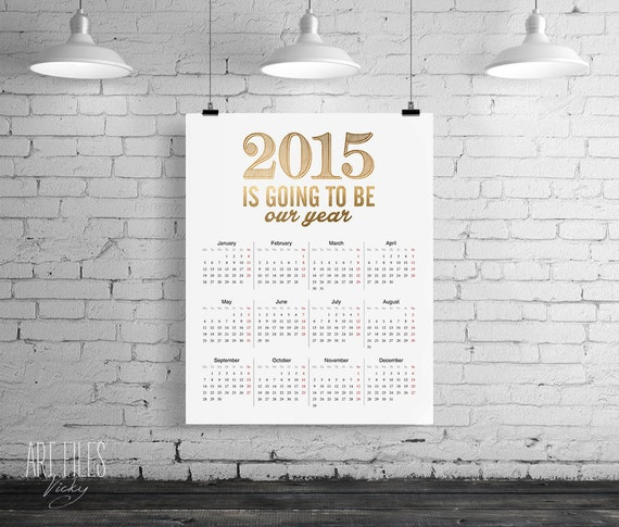 2015 Year Calendar printable yearly organizer, 2015 printable wall desk calendar, month year, digital DIY ArtFilesVicky, INSTANT DOWNLOAD.