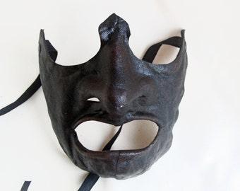 japanese samurai leather mask black dark costume cosplay larp renaissance burning man warrior halloween mardi gras fantasy ogre