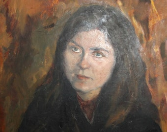 Vintage Bulgarian portrait woman oil painting