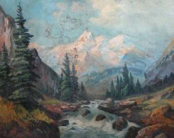 Bulgarian oil painting antique forest landscape