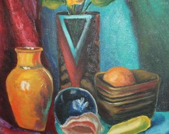 Vintage expressionist art oil painting still life